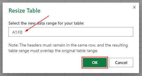 Excel Web Resize Cell Range and Ok Button in Resize Table Box