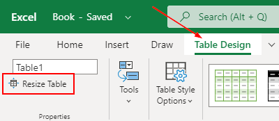 Excel Web Resize Table in Table Design Ribbon