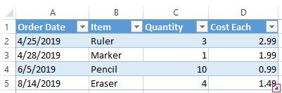 Excel extend table arrow highlighted