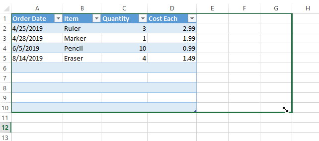 Excel extend table columns
