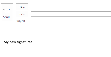 Outlook 2013 new email example signature