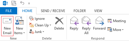 Outlook 2013 ribbon new email highlighted