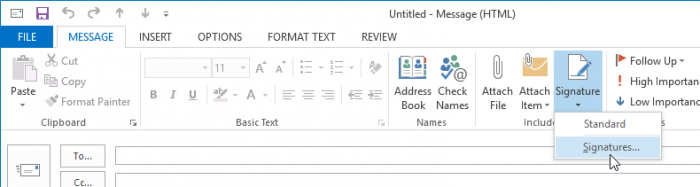 Outlook 2013 signature button