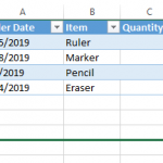 Excel extend table rows