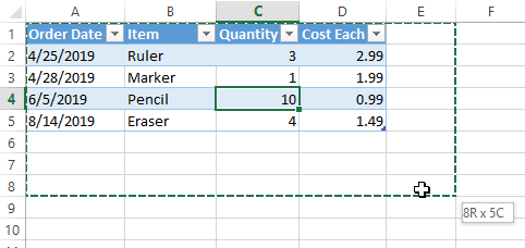 Excel Extend Table Drag Resize Table
