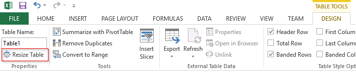 Excel Resize Table option Design Ribbon