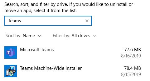 Teams in Remove Programs search bar