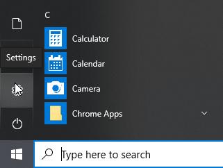 Windows 10 Setting Gear in Start Menu