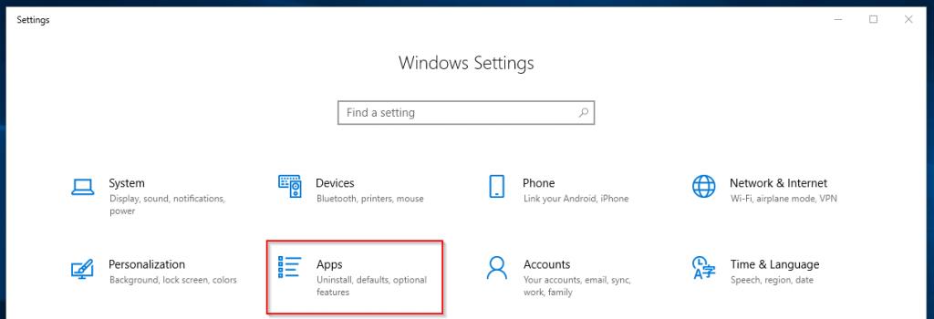 Windows Settings Apps option