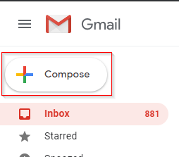 Gmail compose button highlighted