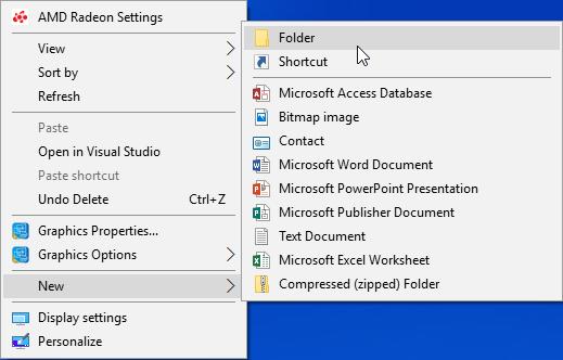 Windows 10 new folder right click
