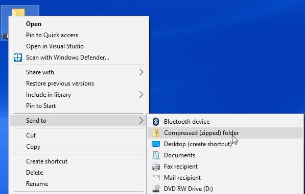 Windows 10 right click menu send folder to compressed (zipped)