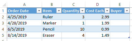 Excel extend table column by typing - extended