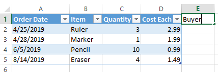 Excel extend table column by typing