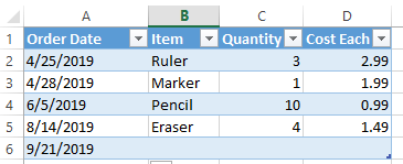 Excel extend table row by typing - extended