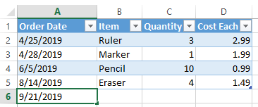 Excel extend table row by typing