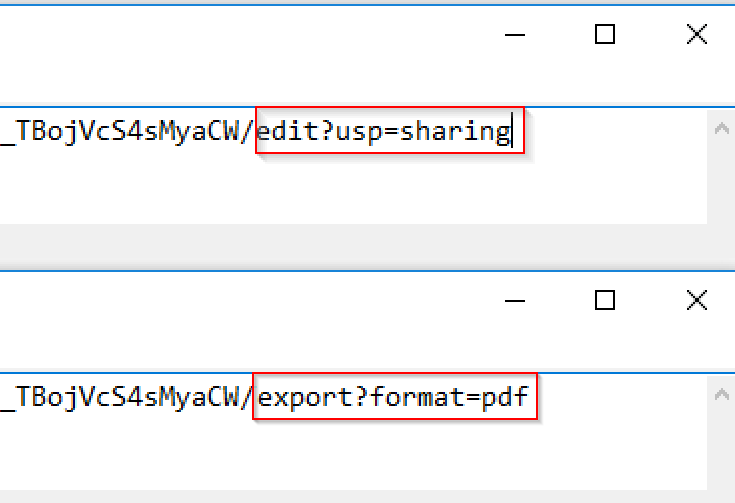 Google Sheets change URL parameter