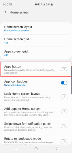 Samsung Galaxy s10 home screen settings apps button highlighted