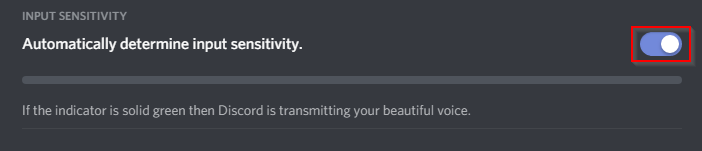 Disable automatic voice sensitivity Discord mic not working