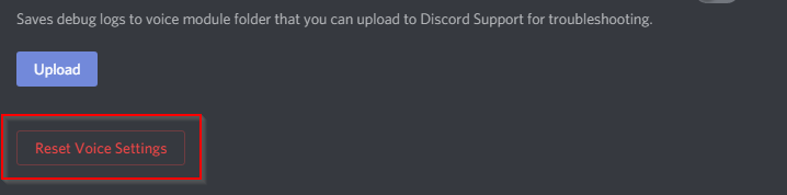 Discord Reset Voice Settings button