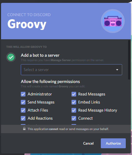 Discord music bot add to server Groovy