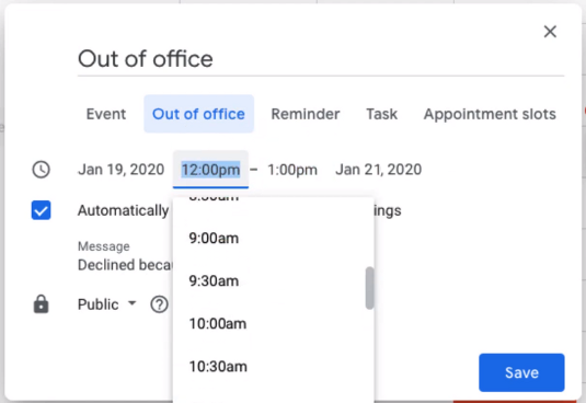 Google Calendar creating out of office to auto decline