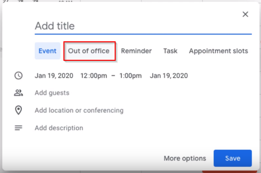 Google Calendar out of office button