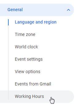 Google Calendar settings working hours