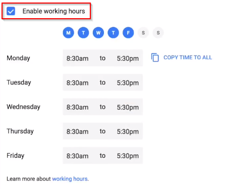 Google Calendar working hours page