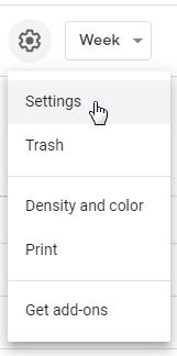 Google calendar gear icon menu