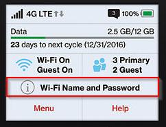MiFi 7730L Touchscreen display WiFi Name and Password option