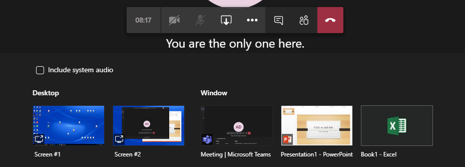 Microsoft Teams available windows and programs to share