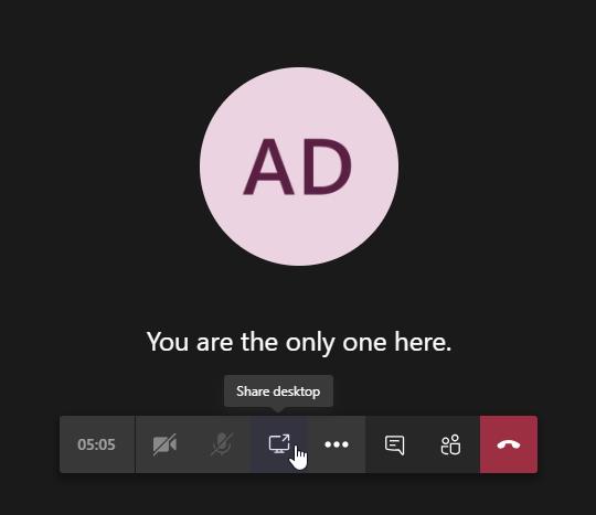 Microsoft Teams share screen button