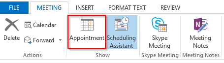 Outlook 2013 Appointment button