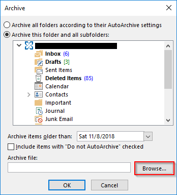 Outlook 2013 Archive Browse