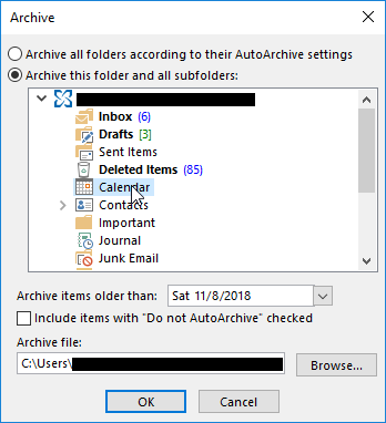 Outlook 2013 Archive Calendar Folder