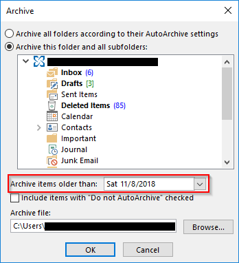 Outlook 2013 Archive items older than drop down