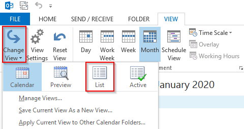Outlook 2013 Calendar Change View List