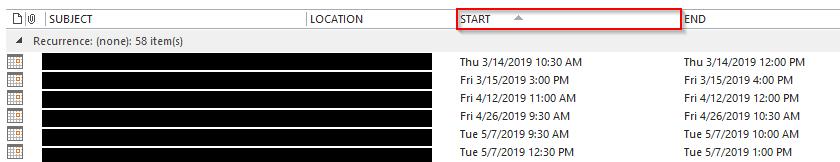 Outlook 2013 Calendar List View organized by oldest first