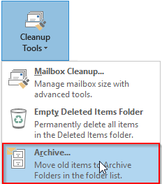 Outlook 2013 Cleanup Tools Archive