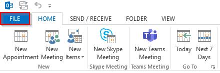 Outlook 2013 File tab