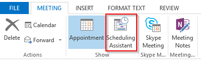 Outlook 2013 Scheduling Assistant button