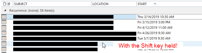 Outlook 2013 Select multiple calendar items with Shift click