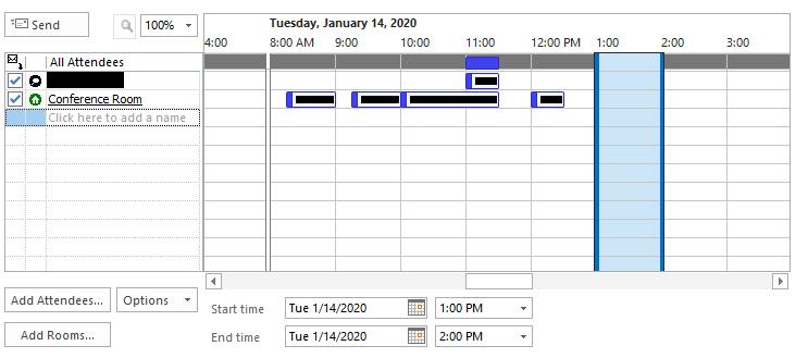 Outlook 2013 book meeting room via Scheduling Assistant