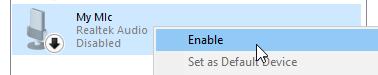 Windows 10 Sound window enable microphone