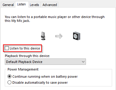 Windows 10 Sound window listen to this device mic not working in Discord