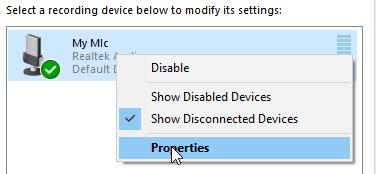 Windows 10 Sound window right click mic properties