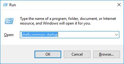 Windows 10 run box shell:common startup command