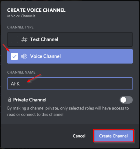 Discord Create AFK Channel