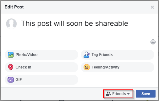Facebook Post Edit Post Audience Button